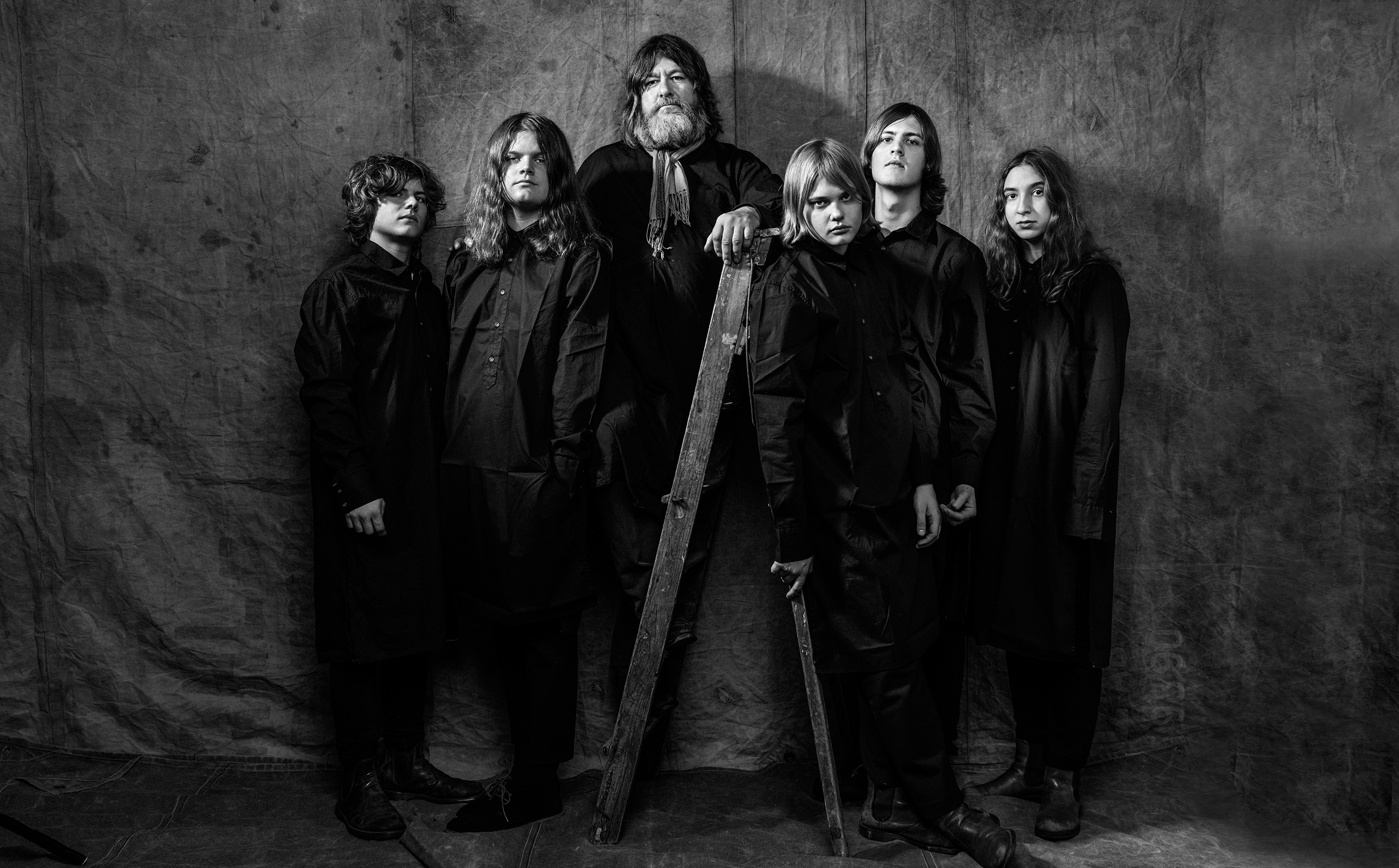 Musik, Ebbot Lundberg & The Indigo Children bandfoto I studio
